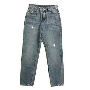 BDG Distressed Mom Jeans, Medium Dark Wash